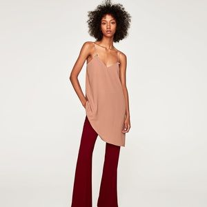 Zara NWT Slip DRESS WITH FAUX PEARL In Nude Size M